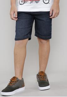 Bermuda Jeans Infantil Slim Com Bolsos Azul Escuro