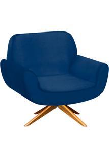 Poltrona D'Rossi Decorativa Estrela Suede Azul Marinho Com Base Giratória De Madeira
