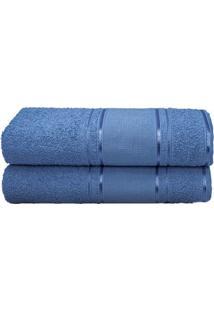 Toalha De Rosto Artesanato- Azul Escuro- 45X70Cmcamesa