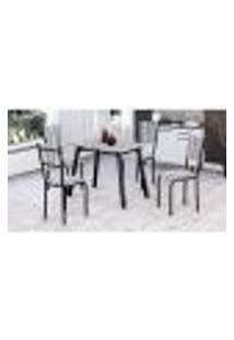 Conjunto De Mesa Com 4 Cadeiras Valentina Preto