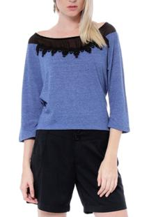 Blusa Moché Com Recortes - Feminino-Azul+Preto