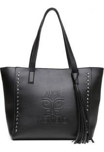 Bolsa Alice Monteiro Sacola Com Metais Grande Franja - Feminino
