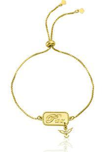 Pulseira Horus Import Pingente Paz Banhada Em Ouro Amarelo 18 K - 1080012