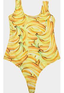 Body Naif Banana Plus Size Feminino - Feminino-Amarelo
