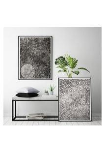 Quadro Com Moldura Chanfrada Abstrato Cinza Médio