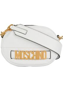 Moschino Bolsa Tiracolo De Couro Com Logo - Branco