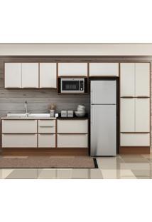Cozinha Compacta 13 Portas 4 Gavetas 5474R Nogueira/Branco - Multimóveis