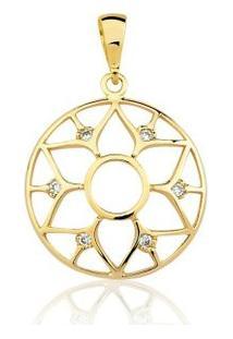 Pingente Toque De Joia Mandala Pequena Flor - Feminino-Dourado