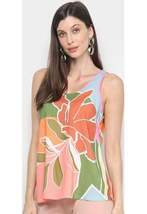 Blusa Mercatto Regata Multi Color Feminina - Feminino-Verde