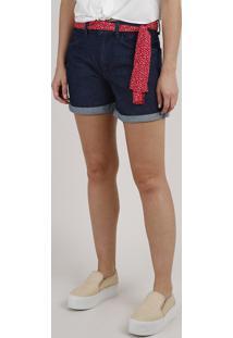Short Jeans Feminino Midi Barra Dobrada Com Faixa Estampada Azul Escuro