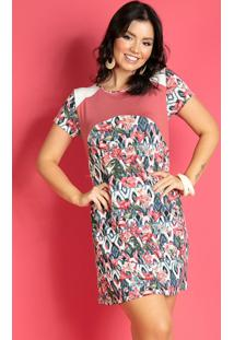Vestido Floral Étnico Com Recortes