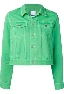 Sjyp Cropped Denim Jacket - Verde