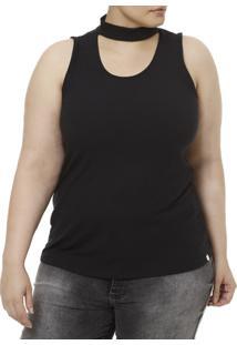727757dc08179 Blusa Regata Plus Size Feminina Lunender - Feminino-Preto