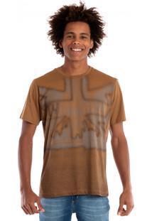 Camiseta Konciny Manga Curta Marrom Claro
