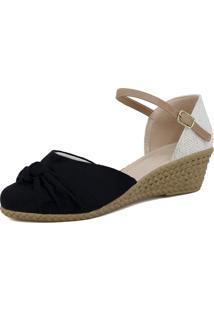Sandália Espadrille Plataforma Magi Shoes Anabela Preta Com Nude