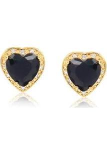 Brinco Coração Onix C/ Zirconia Lys Lazuli Feminino - Feminino-Dourado
