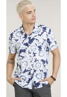 Camisa Masculina Estampada De Girassol Com Bolso Manga Curta Azul