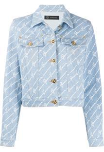 Versace Gv Signature Cropped Denim Jacket - Azul