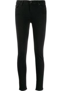 7 For All Mankind Calça Jeans Slim Com Aplicação - Preto