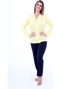 Pijama Algodão Mechler Aberto Longo Amarelo/Azul