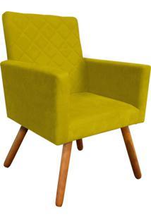 Poltrona Decorativa Nina Tress㪠Suede Amarelo D'Rossi - Amarelo - Dafiti