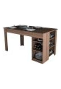 Mesa De Jantar Com Prateleiras Enjoy Mes4005 Nogueira Apt Milani Store