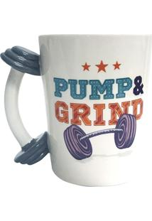 "Caneca Fun ""Pump & Grind""- Branca & Azul- 350Ml-Full Fit"