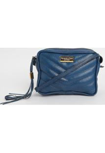 Bolsa Em Couro Matelass㪠Com Tag- Azul Escuro- 14X18Di Marlys