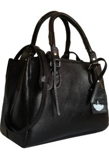 Bolsa Line Store Leather Clássica Couro Preto. - Kanui