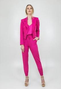 Blazer Pink Alfaiataria Botões Golden Dress Feminino - Feminino-Pink