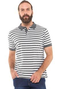 Camisa Polo Yachtsman Reta Listrada Cinza/Branca
