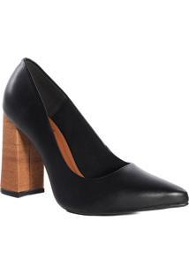Sapato Scarpin Feminino Bico Fino Zariff Salto Madeira Preto