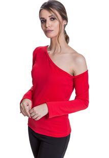 Blusa Carbella Comprida Um Ombro Só Manga Sino Creponada Vermelha