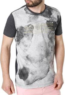 Camiseta Gangster Manga Curta Masculina - Masculino-Cinza