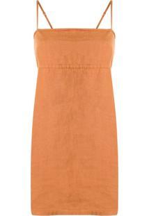 Venroy Vestido Mini Decote Quadrado - Marrom