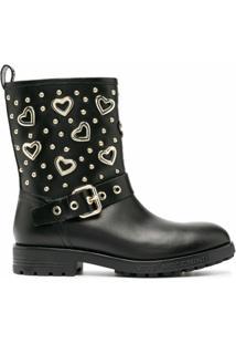 Love Moschino Ankle Boot Com Placa De Coração - Preto