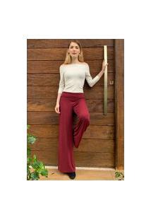 Calça Pantalona Amazonia Vital Malha Com Cós Dobrado Bordô