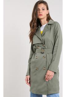 Casaco Trench Coat Feminino Com Botões E Fivela Verde Militar