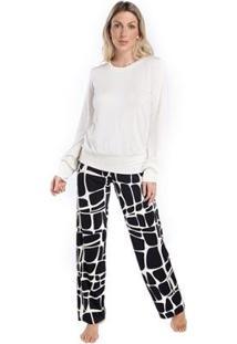 Pijama Inspirate De Inverno Animal Print Giraffe Feminino - Feminino-Branco