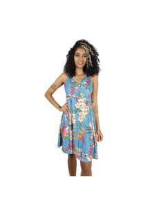Vestido Mercatto Curto Floral Azul