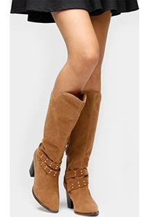 Bota Vizzano Over The Knee Tiras E Tachas - Feminino-Caramelo