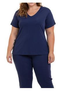 Pijama Longo Liganete Sepie (1052-Pl) Plus Size - Marinho