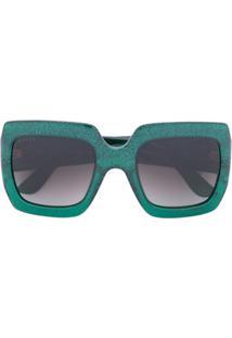 Gucci Eyewear Óculos De Sol Oversized - Verde