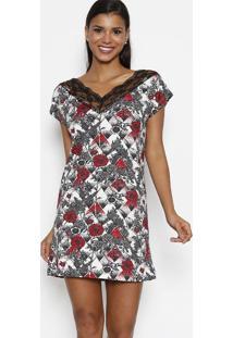 Camisola Floral Maquinetada Com Renda- Preta & Vermelha