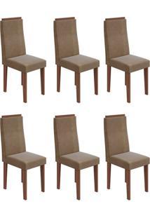 Conjunto Com 6 Cadeiras Dafne L Imbuia E Marrom