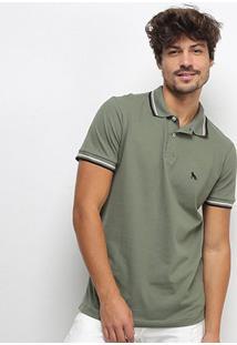 Camisa Polo Acostamento Manga Curta Masculina - Masculino-Verde Militar