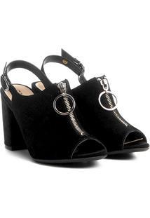 Sandal Boot Azaleia Salto Vírgula Zíper E Argola - Feminino