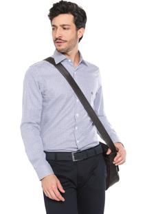 Camisa Dudalina Milano Fit Quadriculada Branca/Azul