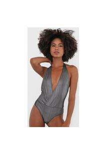 Body Frente Única Colcci Underwear Foil Prata/Preto