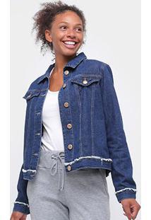 Jaqueta Jeans Uber Bolsos Feminina - Feminino-Azul